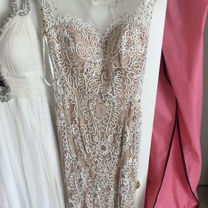 GiGi New York Dresses - White and Tan Long Lace Prom or Evening Dress